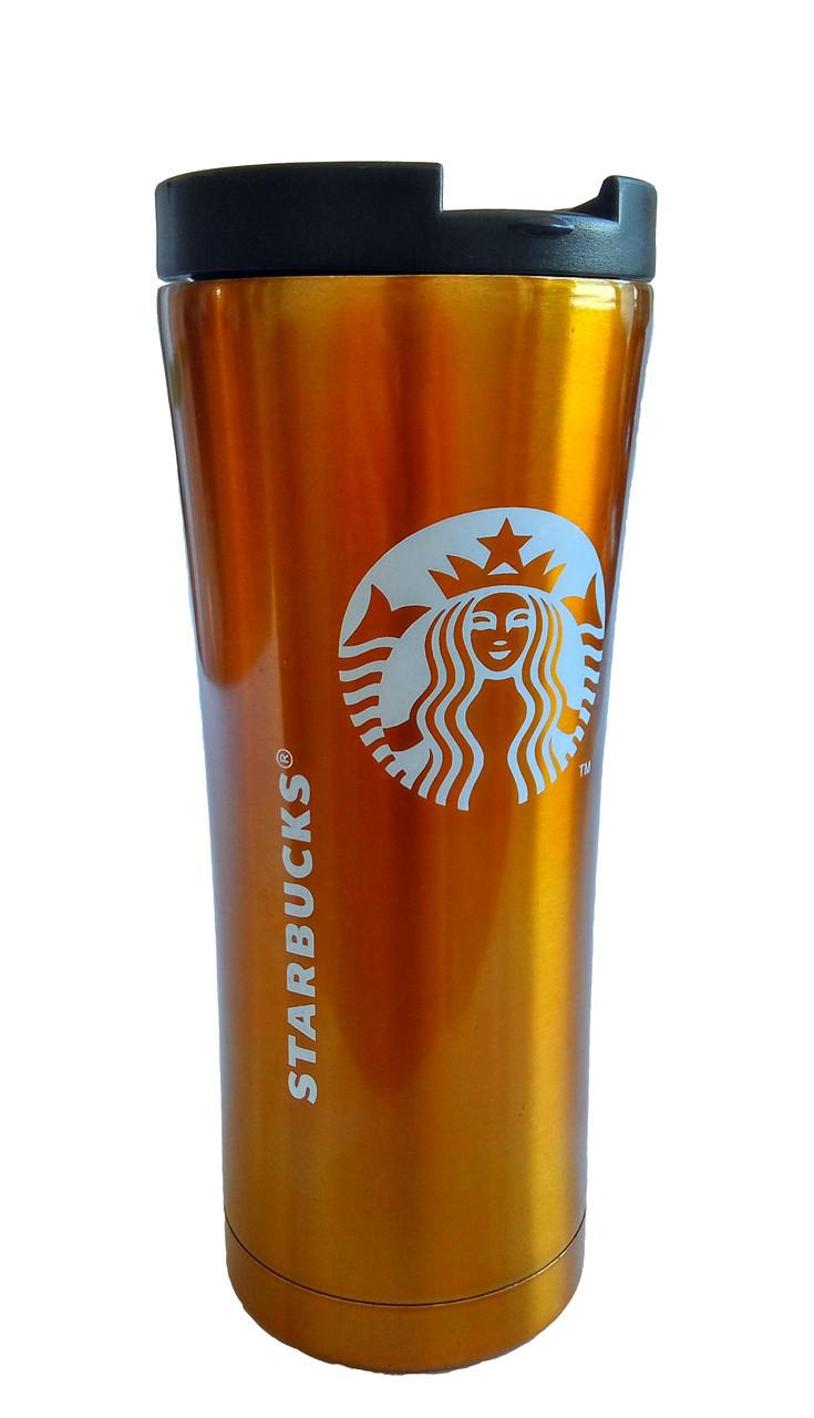 Термокружка Starbucks 500 мл  золотистый  металлический стакан-термос Старбакс  с доставкой по Киеву и Украине