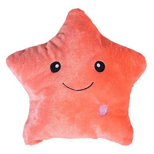 Подушка Звездочка  декоративная  с подсветкой  цвет - персиковый