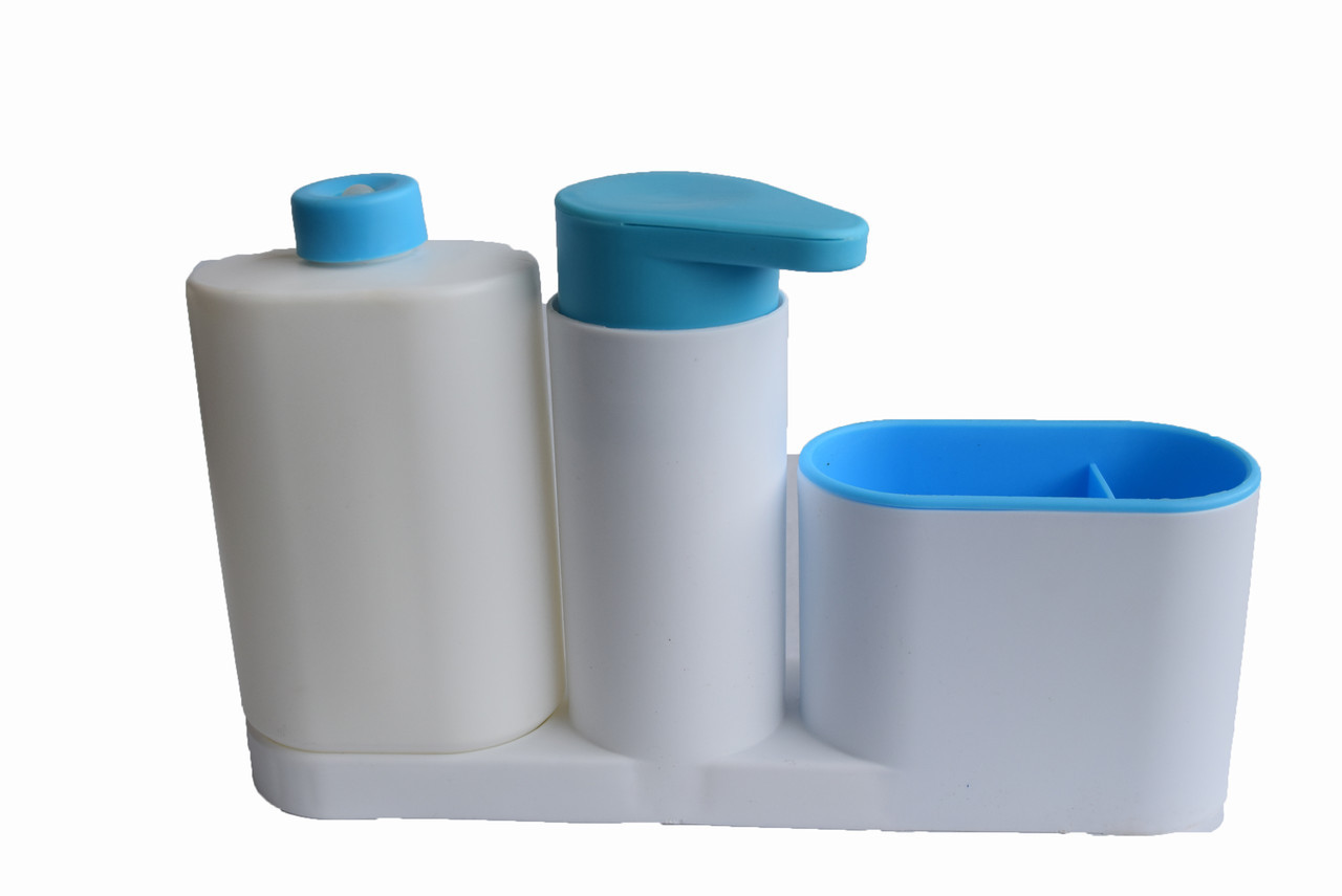Органайзер для ванной  Sink Tidy Sey Plus  дозатор мыла  подставка для зубных щеток и пасты  голубой