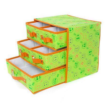🔝 Органайзер с выдвижными ящиками, кофр для белья, тканевый, складной, цвет - салатовый | 🎁%🚚