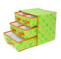 🔝 Органайзер с выдвижными ящиками, кофр для белья, тканевый, складной, цвет - салатовый | 🎁%🚚, фото 1