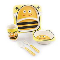🔝 Детская посуда из бамбука, экологическая посуда, для еды, набор из 5 предметов, расцветка Пчёлы | 🎁%🚚, фото 1