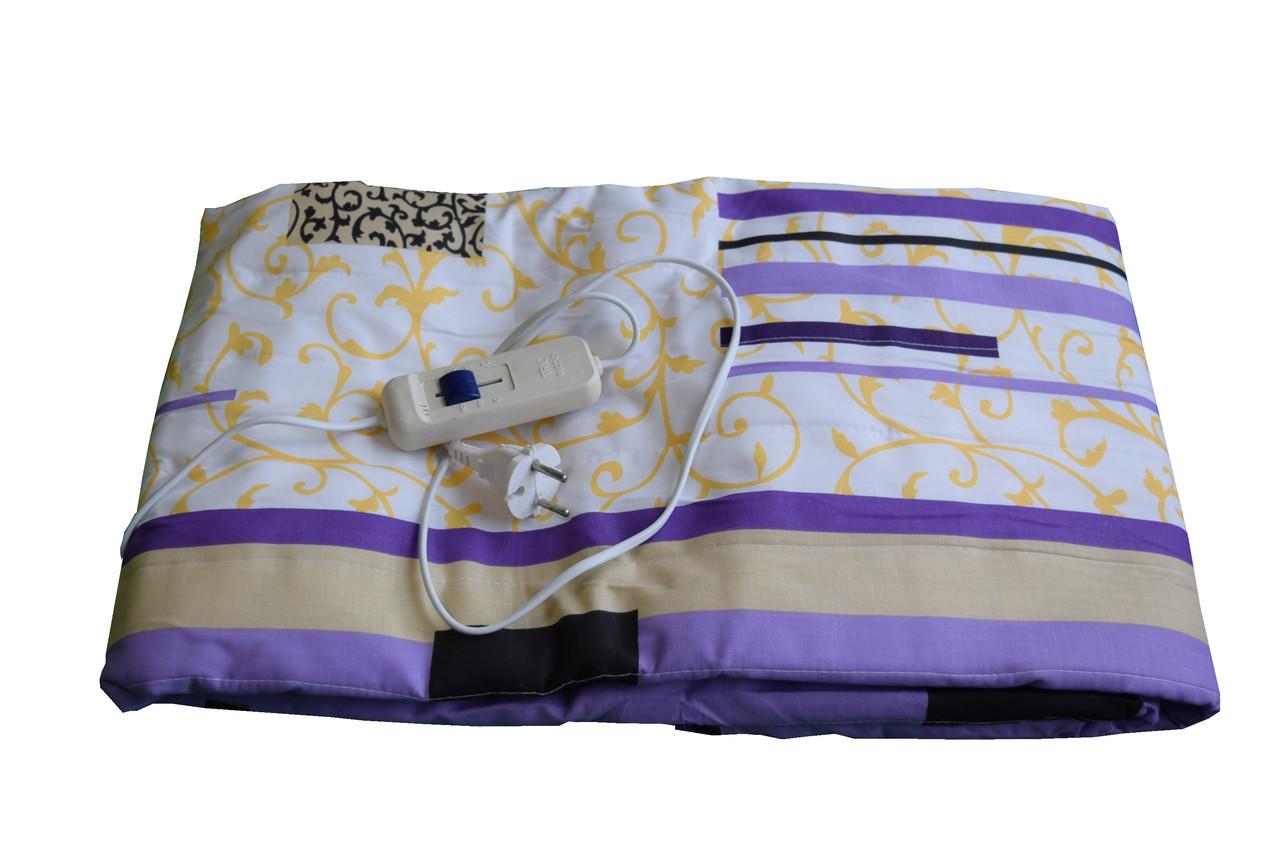 Простынь с подогревом  электропростынь 150х120 см  - Бело-фиолетовая с цветами