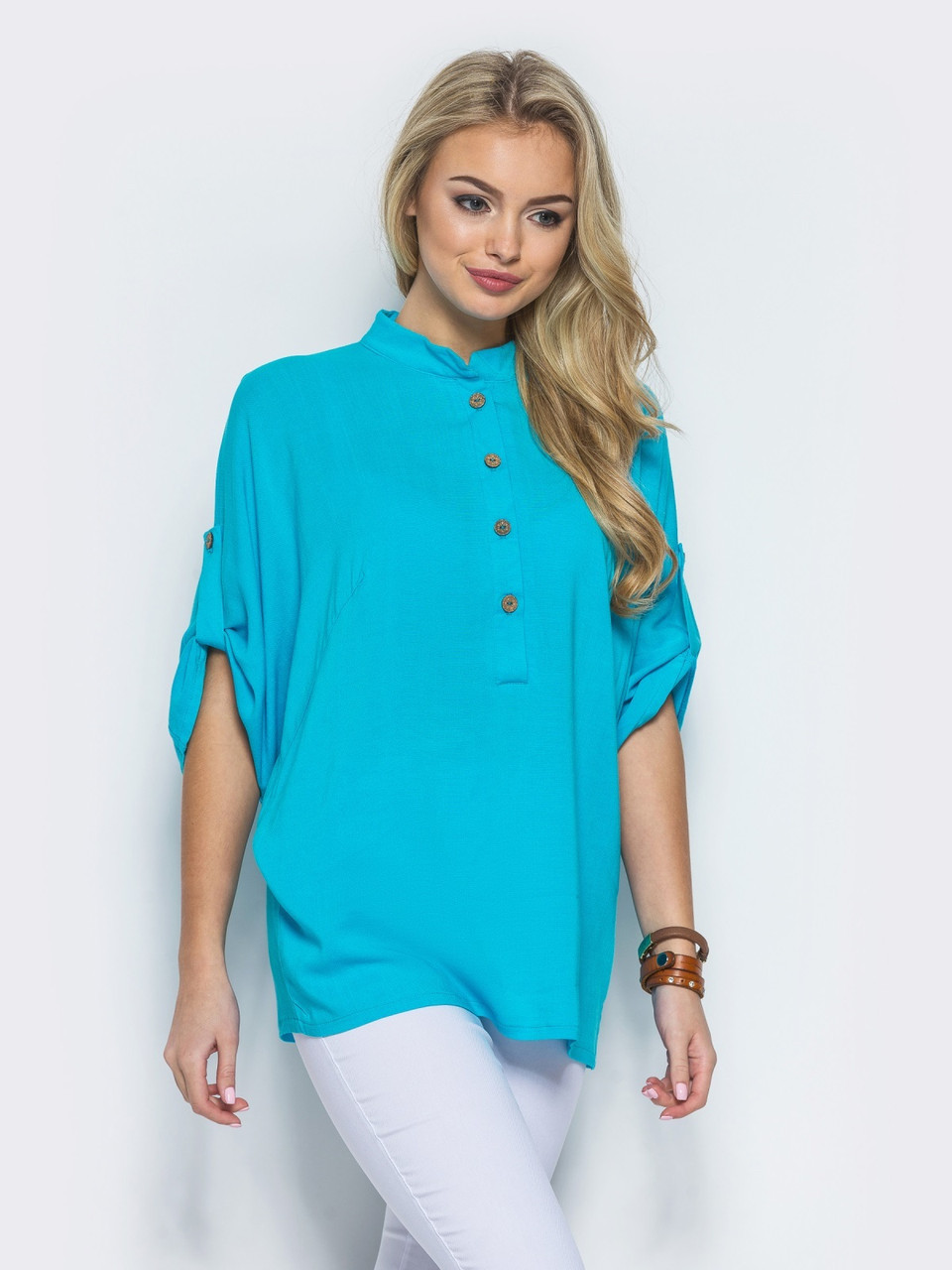 0a175c5aaea 👶Нежная голубая блузка свободного кроя (на пуговицах)   Размер 44 ...