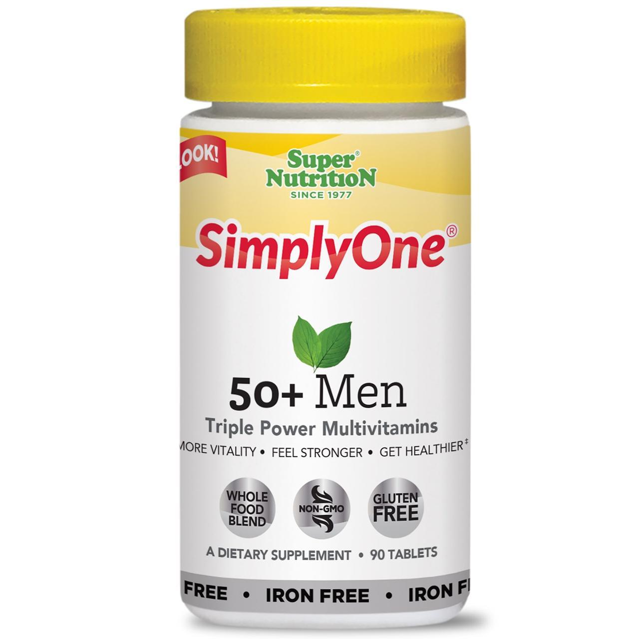Super Nutrition, SimplyOne, тройные мощные поливитамины для мужчин старше 50 лет, без железа, 90 таблеток