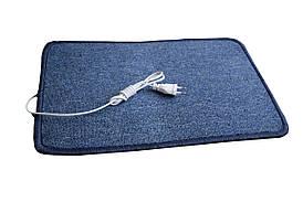 Электроковрик с подогревом (ковролин) - синий закругленный  коврик с электро утеплителем
