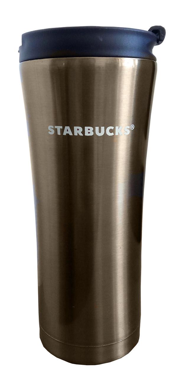 Термокружка Starbucks 500 мл  - бронзовая  металлический стакан-термос Старбакс с доставкой по Киеву и Украине