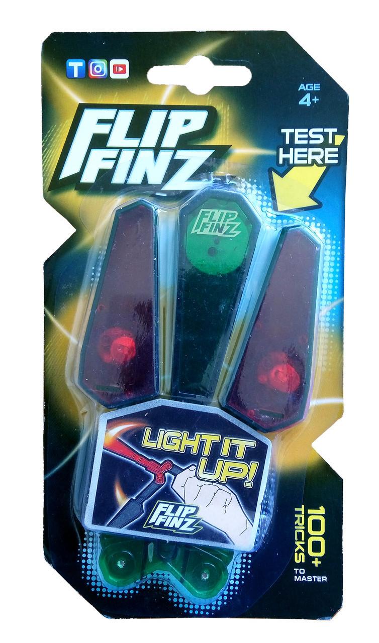 🔝 Игрушечный нож бабочка, Flip Finz (Флип Финз), светящийся - зеленый/красный, с доставкой по Киеву и Украине | 🎁%🚚