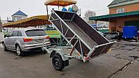 Двухосный прицеп самосвал для легкового автомобиля 2,2м х 1,3м х 0,4м борт.