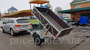 Двовісний причіп самоскид для легкового автомобіля 2,2 м х 1,3 м х 0,4 м борт.