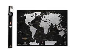 Скретч карта  My Map Black Edition  подарок для путешественников  Silver  ENG
