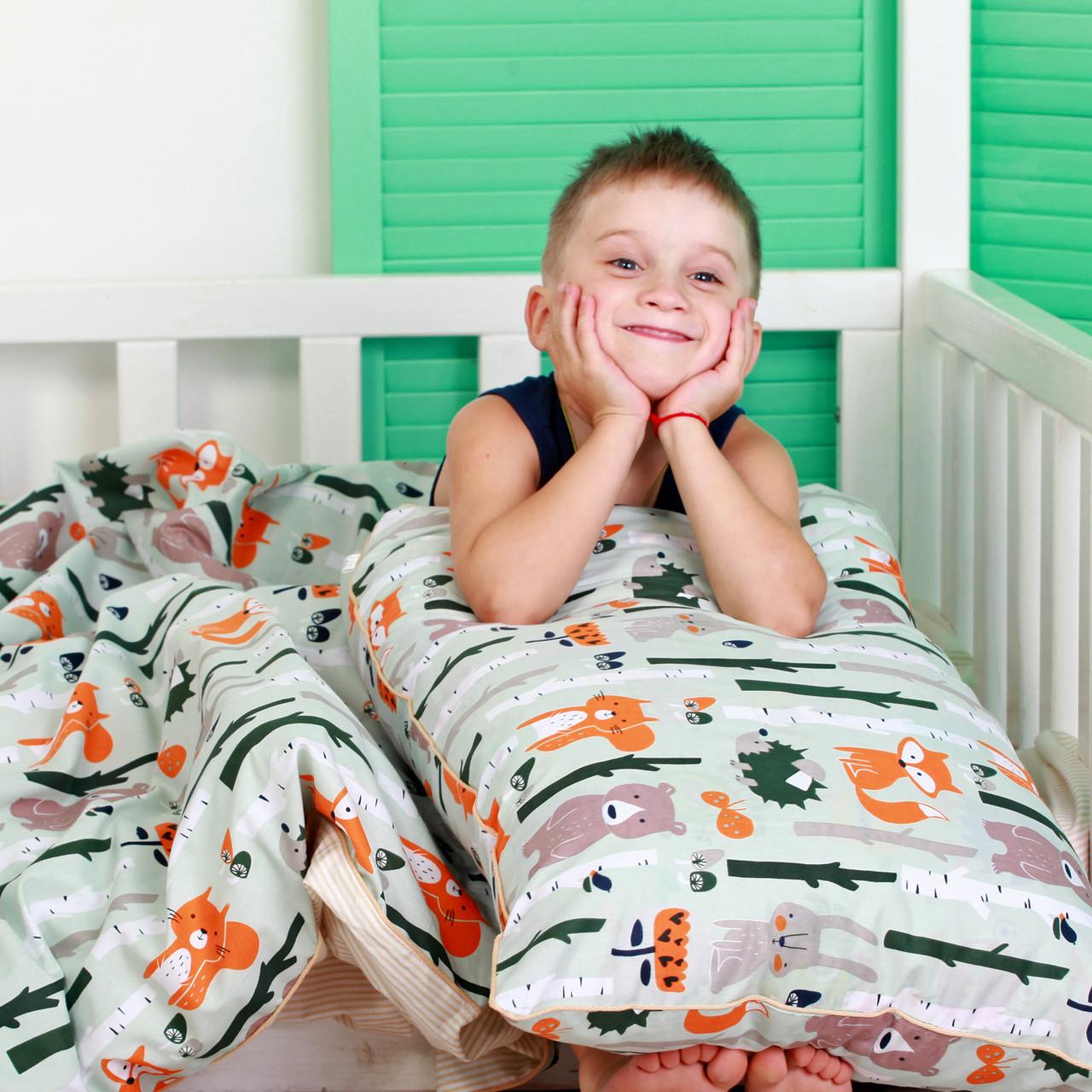 """Детский постельный комплект в кроватку """"Лес"""" (бязь, 100% хлопок)"""