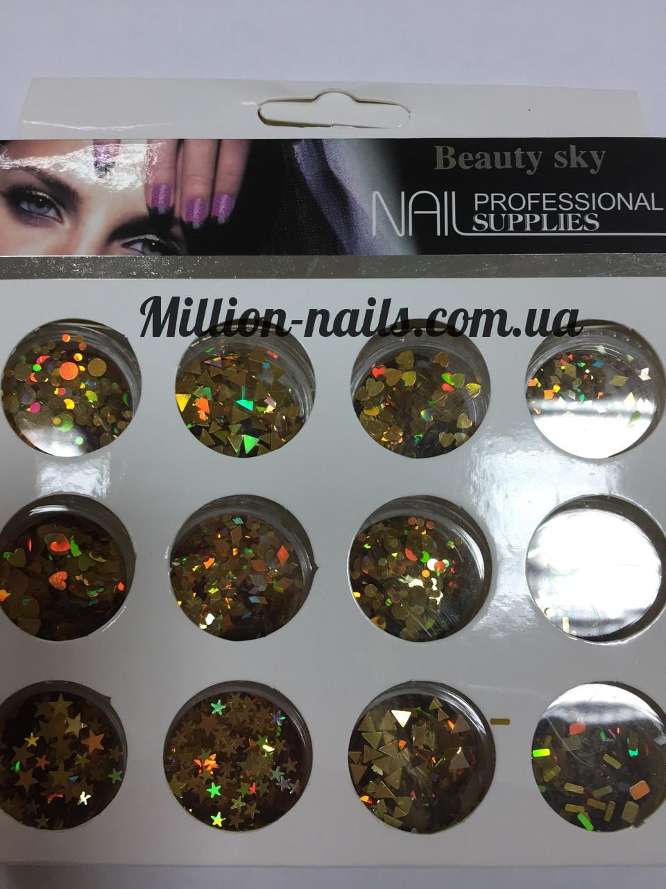 Набор для дизайна ногтей фигурки(золото),12 шт в упаковке