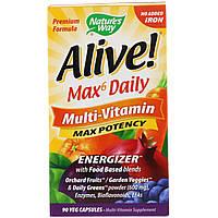 Nature's Way, Живой! Max6 Daily, мультивитаминный комплекс, без добавления железа, 90 вегакапсул