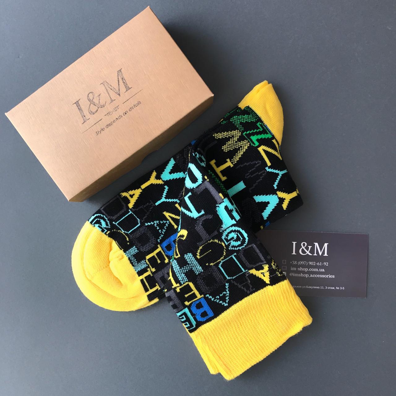 Носки I&M Craft черные с желтым в буквы (070182)
