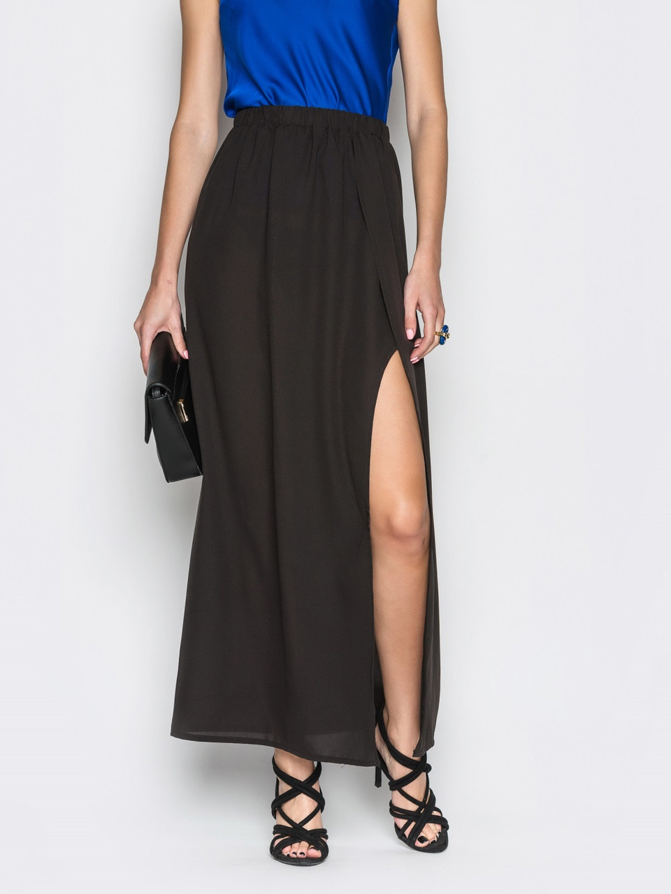 d8a185515bf 💍Черная шифоновая длинная юбка с запахом (с поясом на резинке)   Размер 44