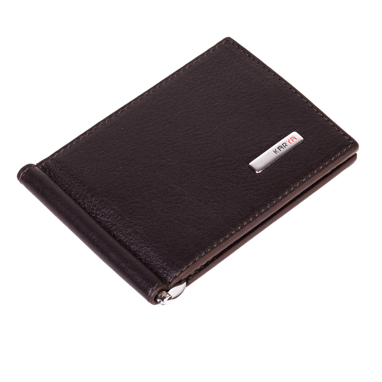 Зажим для денег Karya 0902-39 кожаный темно-коричневый