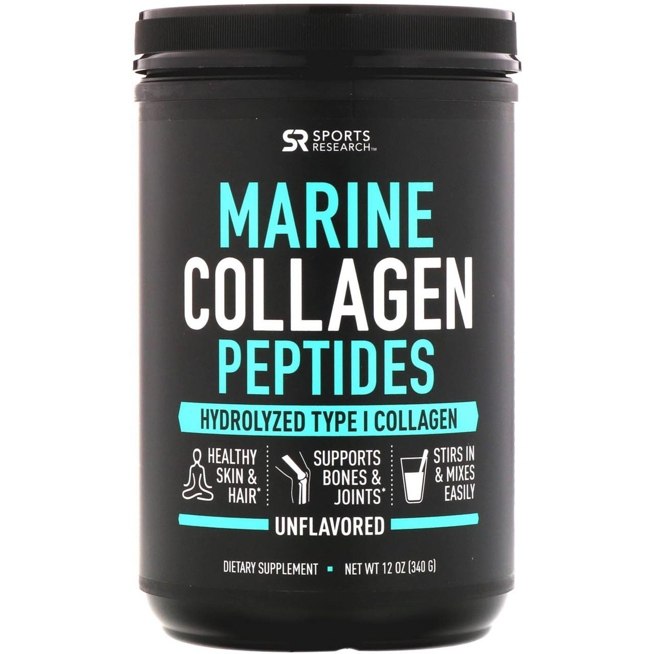 Sports Research, Морские пептиды коллагена, без ароматизаторов, 12 унц. (340 г)