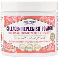 ReserveAge Nutrition, Порошок Collagen Replenish с гиалуроновой кислотой и витамином C, 2,75 унц. (78 г)