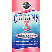 Омега-3 + астаксантин и фукоксантин Garden of Life, Oceans 3,OmegaXanthin, 90 гелевых капсул