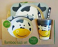 Набор детской посуды из бамбука Bamboo Fibre kids set Коровка 5 в 1