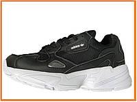 Женские кроссовки Adidas Falcon Black White (Адидас Фалькон, черные / белые)
