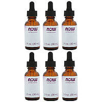 Now Foods, Empty 1 fl oz Amber Glass Bottles + Dropper, 6 Packs