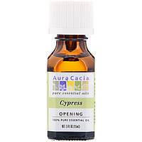 Aura Cacia, чистое эфирное масло, Кипарис, 0,5 жидкой унции (15 мл)