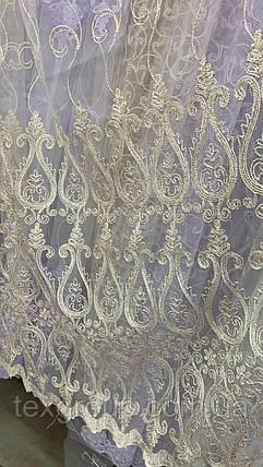 Красивая тюль Корд крем с золотом 12708 , фото 2