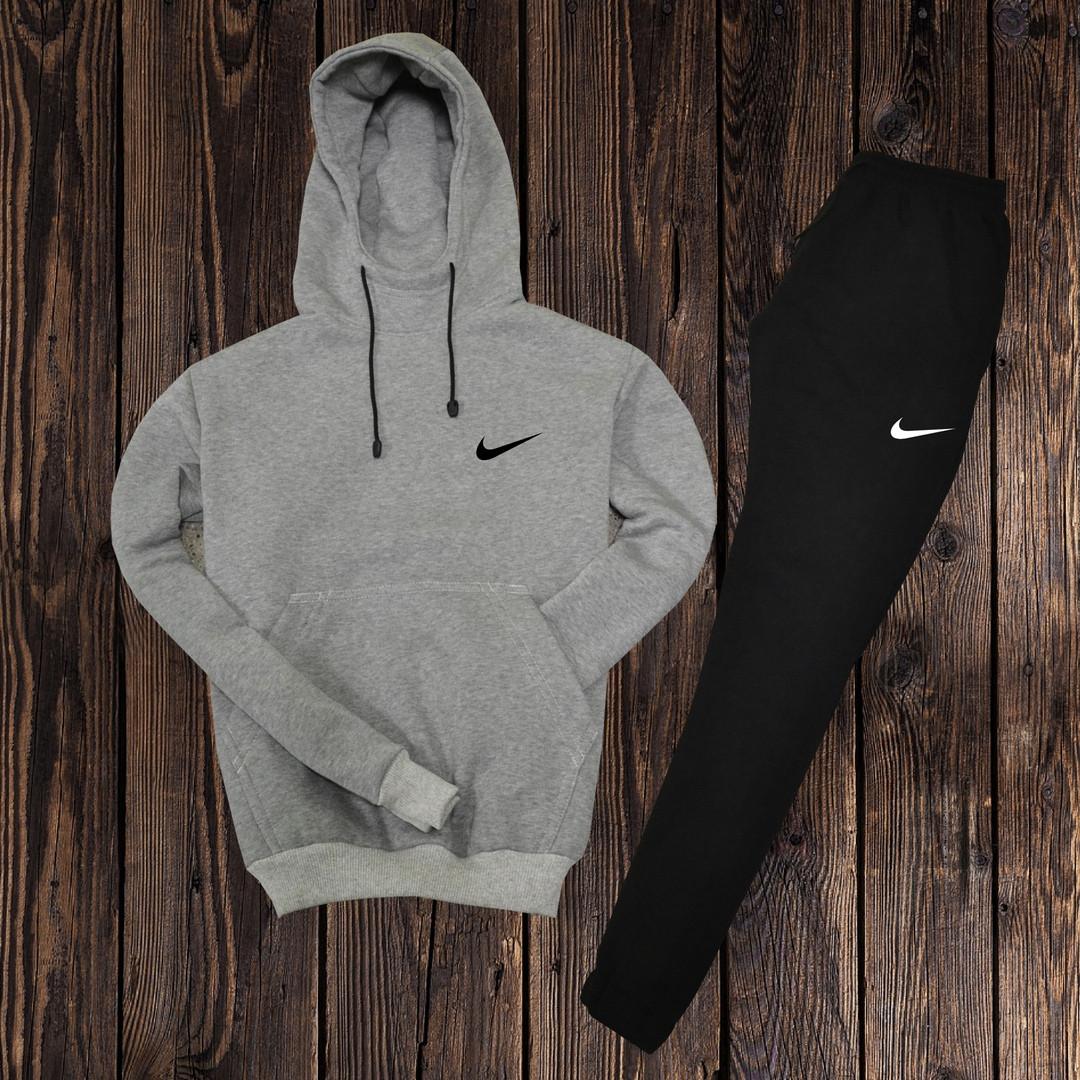 cc68ac2e Очень теплый мужской спортивный костюм Nike (Найк) серый с черным - размер  М (