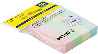 Закладки бумажные 51x12мм, 4х100 лист., ассорти