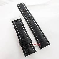 Кожаный ремешок для часов Breitling с клипсовой застежкой 24мм black (05876), фото 1