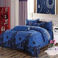 Комплект постельного белья Ночной город (двуспальный-евро)