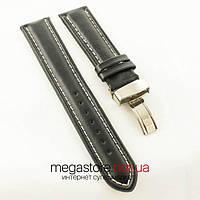Кожаный ремешок для часов Breitling с клипсовой застежкой black (06257)