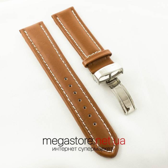 Кожаный ремешок для часов Breitling с клипсовой застежкой brown (06258)