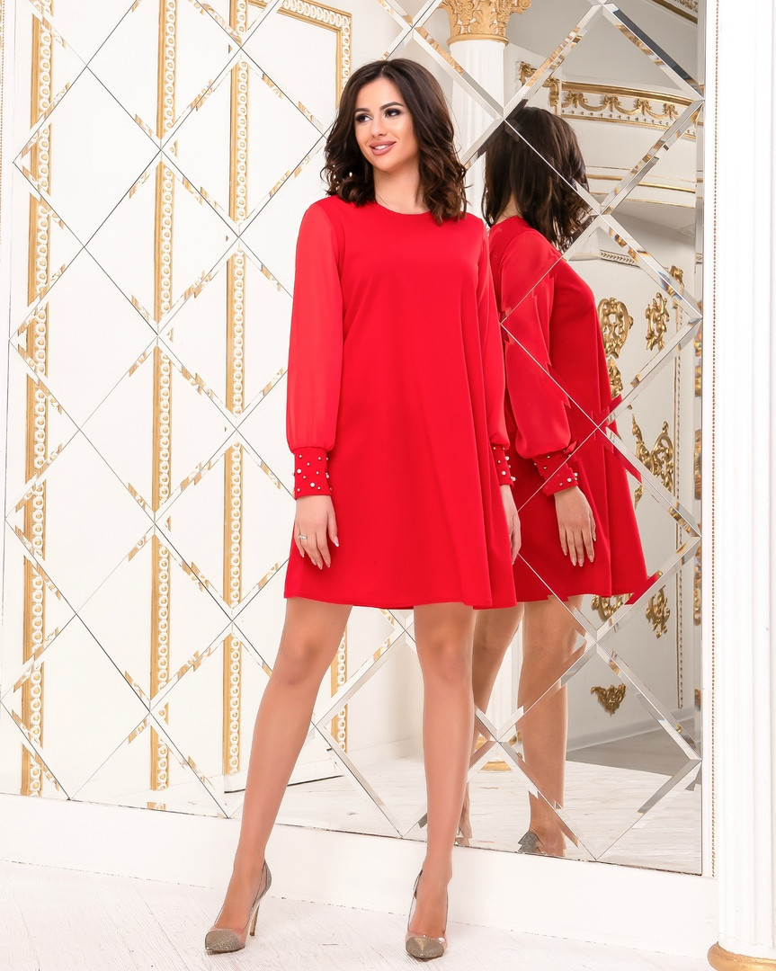 Платье женское с шифоновым рукавом