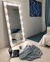 Гримерное зеркало в полный рост без подставки с подсветкой (без ламп) 180*80 см. Белое ЛДСП