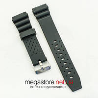 Каучуковый для часов ремешок Casio black 20 мм (07166), фото 1