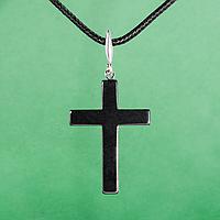 Гематит, серебро, крестик, 986КЛГ