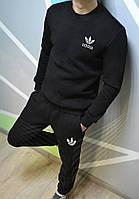 Зимний мужской спортивный костюм Adidas (Адидас) черный - размер XL  (реплика) 2f24976f9a61f