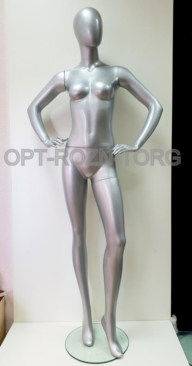 Манекен женский лакированный серебро