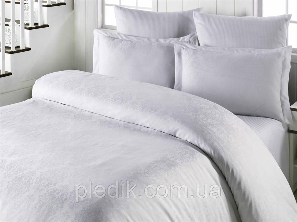 Комплект постільної білизни жаккард 200х220 LIGHTHOUSE Exclusive Sateen білий