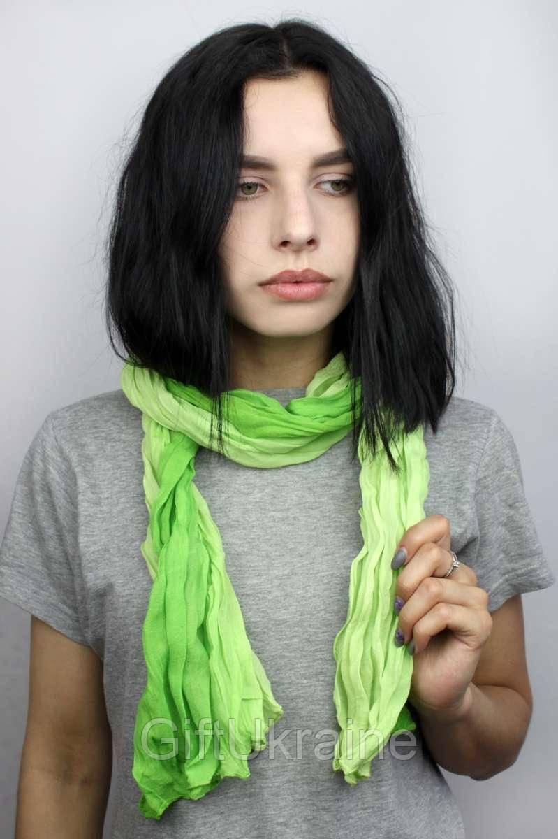 Шарф Косичка переход зеленая 170х50 см - 136568