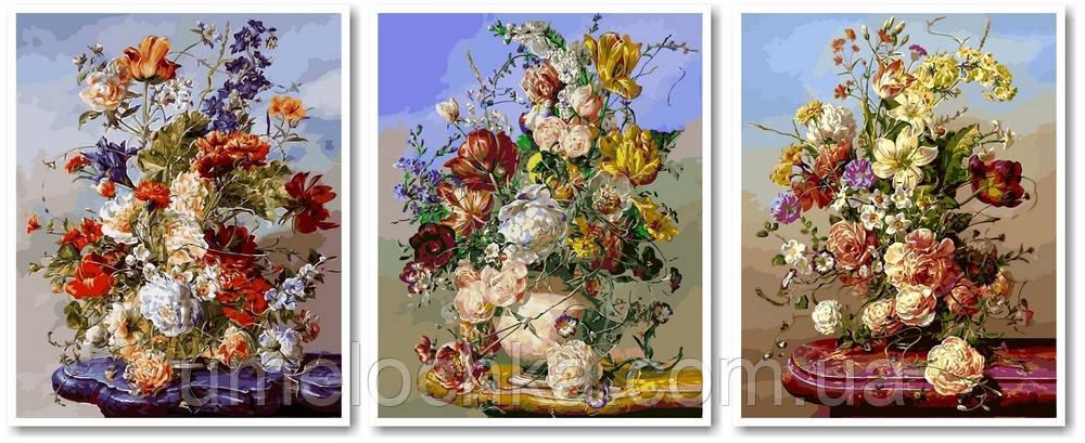 Картина по номерам Триптих Летние букеты Триптих 50 х 120 см (VPT034)