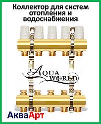 Коллектор для систем отопления AQUAWORLD на четыре выхода