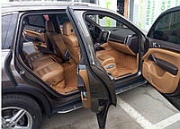 Коврики на PorscheCayenne Кожаные - 3D (2010-2017) Светло-Коричневые, фото 1