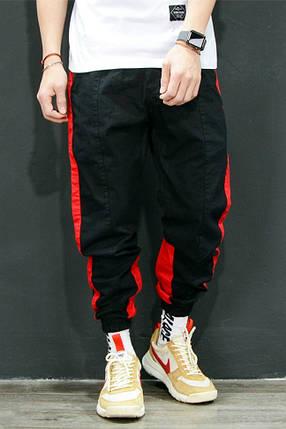 Мужские черные брюки джоггеры с лампасами, фото 2
