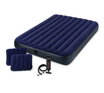 Надувной матрас Intex 64765 с насосом и подушками (152х203х25 см.)