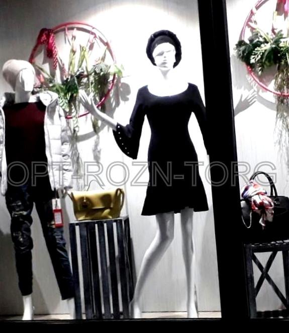 Манекен женский глянцевый белый/черный CW-4