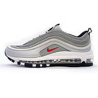 Женские кожаные кроссовки Nike AIR MAX 97 серебристые (реплика)